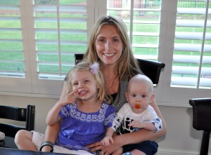 Sarah Mccurley with Olivia (2 years old) and Thomas (4 months old)